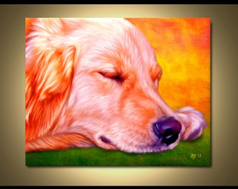 Golden Retriever Portrait | Custom Golden Retriever Portrait | Golden Retriever Painting From Your Photos | Retriever Art by Iain McDonald