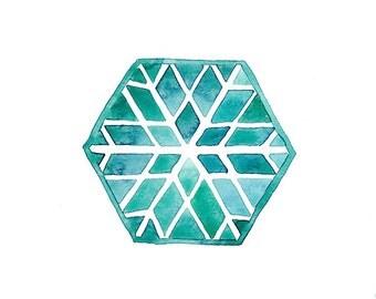 Original watercolor geometric wall art Snowflake painting Snow Hand painted art card