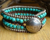Turquoise Beaded Leather Bracelet with Buffalo Nickel Button