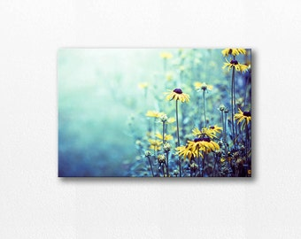 botanical canvas art flower photography canvas print wall decor 12x12 24x36 fine art photography nature canvas wrap floral teal yellow daisy