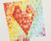Geometric Heart Valentine Card - geometric rainbow ombre background