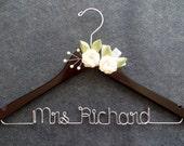 Bride Hanger - Personalized Hanger - Wedding Dress Hanger - Ivory Flowers Hanger - Mrs Name Hanger - Bridesmaid Gift - Shower Gift