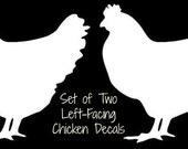 "Set of 2 CHICKEN Hen White Vinyl Car Window Sticker Decal Farm Fresh Eggs Daily 2"" Left Facing"