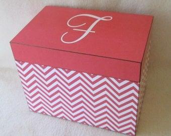 Recipe Box - Coral - Chevron - Wooden Recipe Box - Personalized - Shower Gift - Wedding Gift