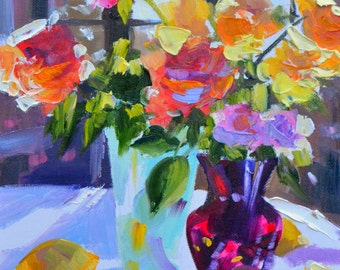 ROOSTAFEL instant downloadable print of Original Oil Painting, roses with blue and purple vases
