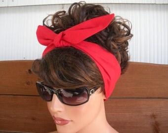 Headband Women Dolly Bow Retro Headband Women Fashion Accessories Hair Women Head Scarf   in Red - Choose color