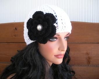 Women's Hat Crochet Hat Winter Fashion Accessories Women Beanie Hat Cloche in White with black crochet flower by creationsbyellyn