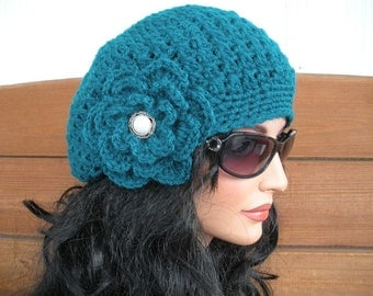 Womens Hat Crochet Hat Winter Fashion Accessories Women Beanie Slouchy Hat Winter Hat in Teal - Choose color