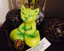 Buddha Cat Sculpture Zen Kitty Buddha Sculpture Yellow Lime Lemongrass Matcha Green Tea Latte Custom Cat Art Custom Personalize Goddess Gift