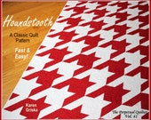 "Houndstooth Quilt Pattern, Modern quilt pattern, Retro quilt pattern, Twin, Easy, 61"" x 82,"" qtm"