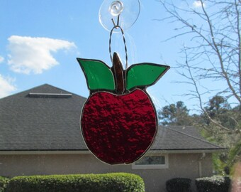 Brilliant Scarlet Red Apple Suncatcher in Granite Glass with Twisted Wire Hanger