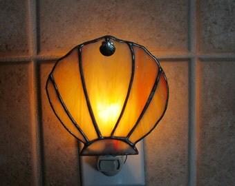 Orange and Yellow Swirled Opalescent Clamshell Night Light w/Tibetan Silver Charm Embellishment