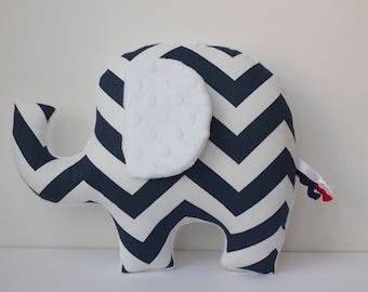Chevron elephant pillow, navy white chevron, modern nautical nursery decor, baby shower gift