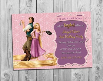 Rapunzel Tangled Invitation, Printable, for Tangled Themed Birthday Party, More Tangled Invitations available