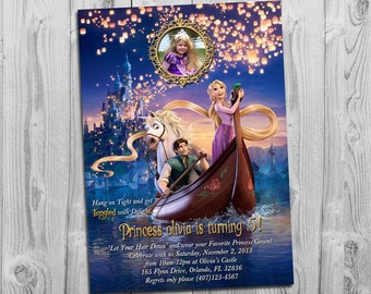 Tangled Birthday Invitation, with Rapunzel and photo, for Tangled Themed Birthday Party, More Tangled Invitations available