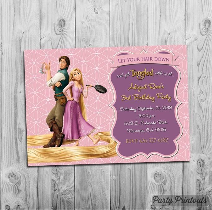 rapunzel tangled invitation printable for tangled themed