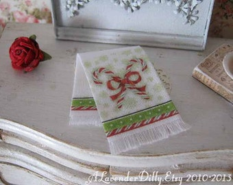 Candy Cane in White Christmas Tea Towel