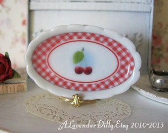 Cherry Gingham Small Dollhouse Oval Platter