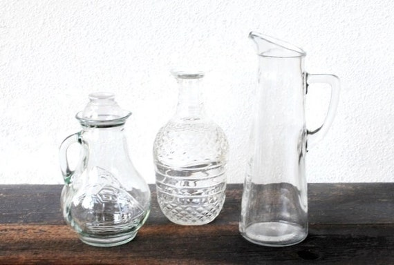 Old Glass Decanter Whiskey Bottles, Clipper Ship Roly Poly Tall Pitcher & Diamond, Vintage Bar Set, Federal Law  Prohibits