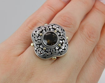 Round Smokey Topaz Ladies Ring Sterling Silver 18K Yellow Gold Antique Finish