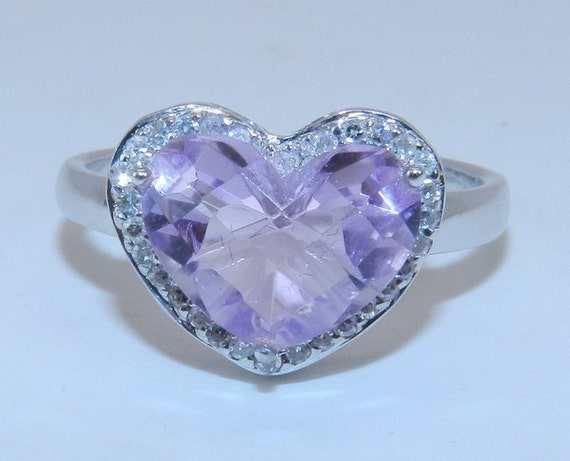 SALE Diamond and Heart Amethyst Halo Engagement Ring 14K White Gold Sizable