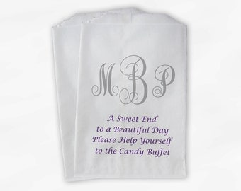 Monogrammed Candy Buffet Bags - Sweet End Custom Favor Bags Personalized Couple's Initials - Paper Treat Bags (0037)