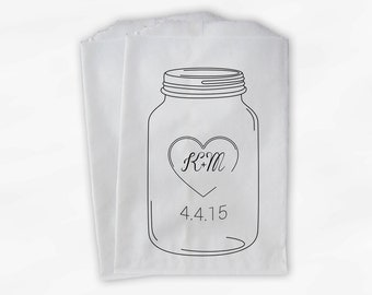 Mason Jar Initials in Heart Wedding Candy Buffet Treat Bags - Favor Bags with Monogram and Date - Custom Paper Bags (0100)