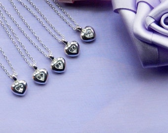 Bridesmaids Necklace Sets of Sterling Silver Hearts