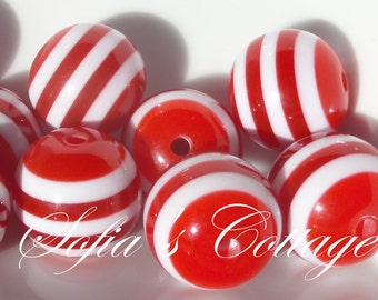 20mm 10CT Red and White Striped Patriotic Beads, Perfect for 4th of July, F17