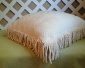 Ivory Chenille Pillow Cover with Four Inch Cotton Bullion Fringe, Vintage Look
