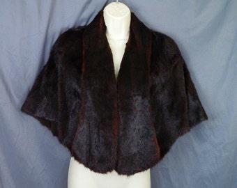 Stunning 1940s Black Mahogany Mink Fur Stole / Cape