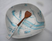 great shape clean vintage 1960s retro eames era mid century signed redware ITALY ITALIAN SALAD bowl