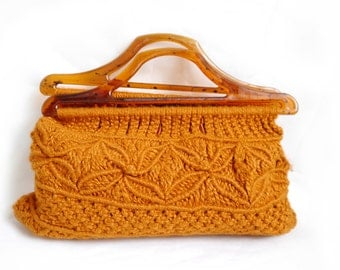 Vintage 70s CLUTCH Knit Macrame Orange Boho top handel bag sweet scandinavian purse