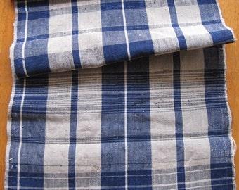 Antique handwoven Japanese zanshi indigo dyed cotton fabric
