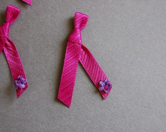 5pc Rasberry Stripe Bow