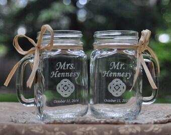 Celtic Wedding Personalized Mason Jars