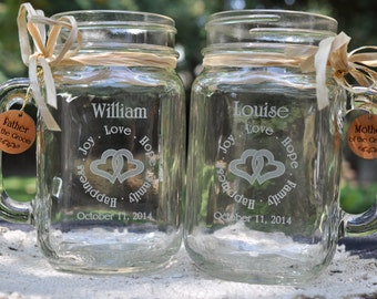 Mom and Dad Wedding Gift, Mother of Bride Groom Mason Jars, Father of Bride Groom Mason Jars