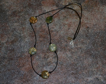 Rhyolite Jasper and Leather Necklace
