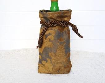 Wine Bag Gift Bag Slate Blue Chenille