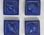 Royal Blue SeaShell Accent tiles -- 2x2 accent tile, sea shells, Set of 4, bathroom tiles, kitchen tiles, IN STOCK