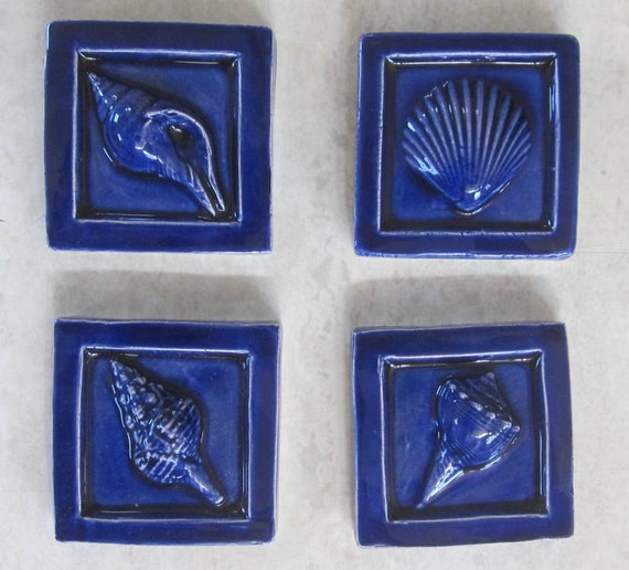 royal blue seashell accent tiles -- 2x2 accent tile, sea shells