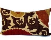 Accent Pillow, Throw Pillow, Decorative Pillow, Suzani Pattern, Braemore Designer Fabric, Brown, Russet, Pecan