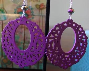SALE! Plum Purple  Wood Earrings
