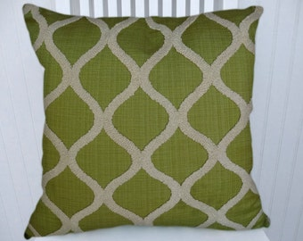 Green Chenille Pillow Cover---18x18 or 20x20 or 22x22 Apple Green and White Embroidered Throw Pillow, Accent Pillow