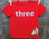 Boy's Rocket Birthday Shirt, Three, 3T 3rd Birthday Clothing, Rocket T-shirt, Red and Navy, Appliqued Three, Children at Play, Rocket Detail