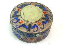 Hand Crafted Cloisonne Box with Jade Medallion and Bat Motif - Silver