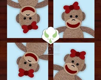 Print: sock monkeys — choose 1 of 8 designs