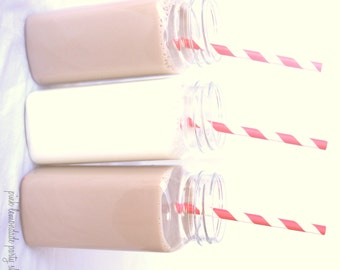 20 FRENCH square milk bottles- lids and Chalkboard Labels -Plastic--8 oz-