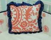 Coral and Navy Square Pillow in Coral Suzani and Coral Dandelions with Navy Ruffle