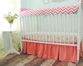 Bumperless Cribset in Aqua, Coral, and Yellow with Coral Chevron Stripes
